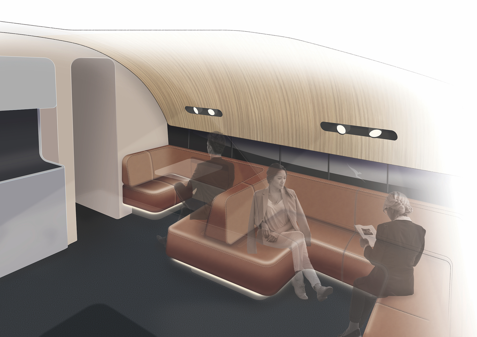 Qantas A380 First Class New Upper Deck Lounge