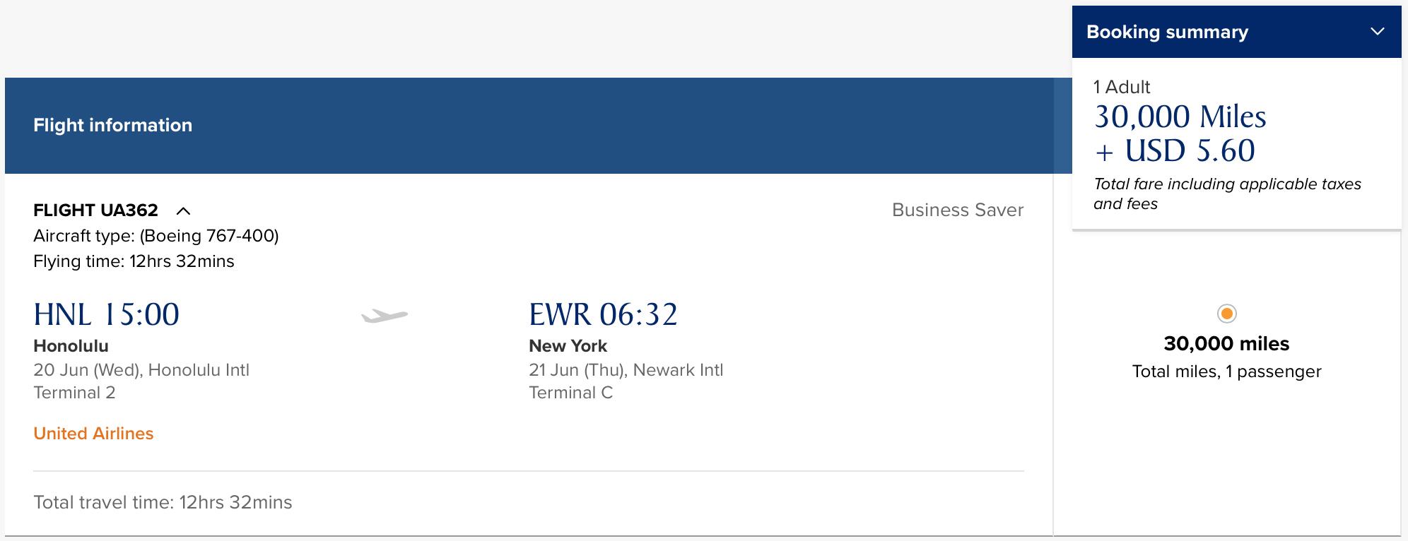 UA HNL-EWR