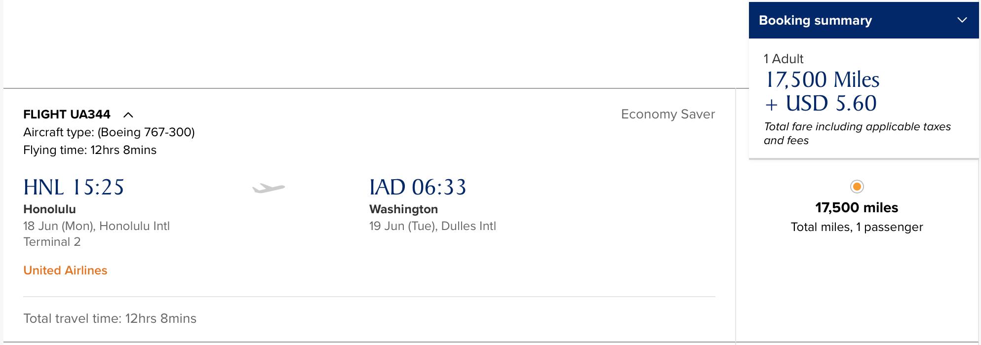 UA HNL-IAD (Y)