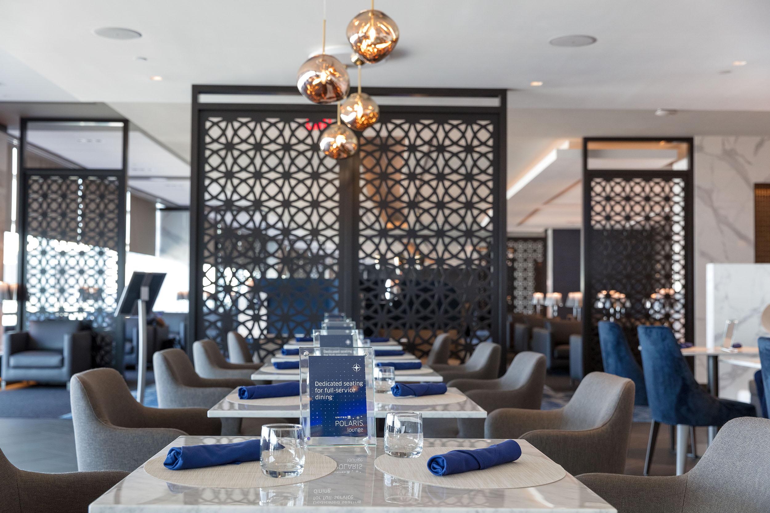 United Polaris lounge Dining Room at EWR