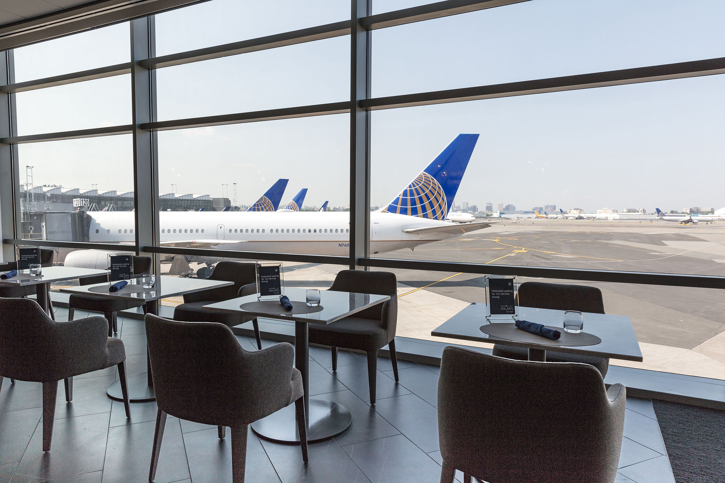 United Polaris lounge view at EWR