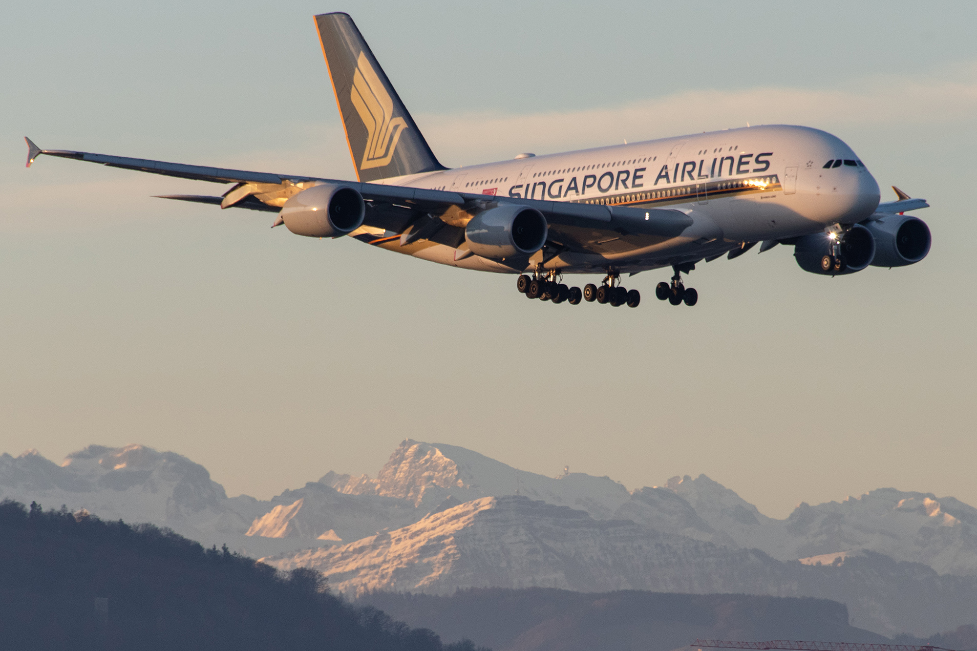 SQ A380 Landing ZRH (Aero Icarus)