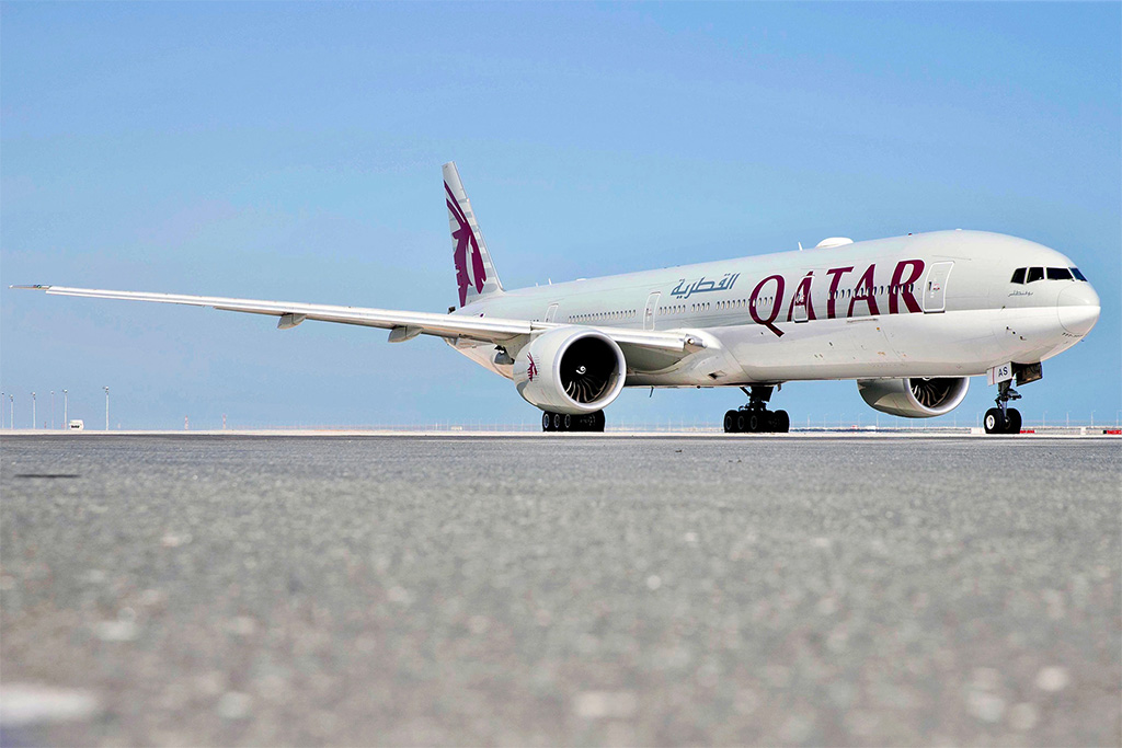 This image has an empty alt attribute; its file name is QR-B77W-Parked-Small-Qatar-Airways.jpg